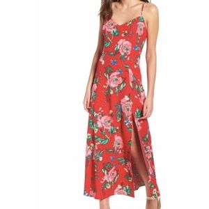 LOVE, FIRE Cami Floral Maxi Dress in Red Floral M
